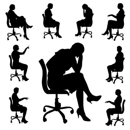 oficina: Vector silueta de personas que se sientan en la silla.