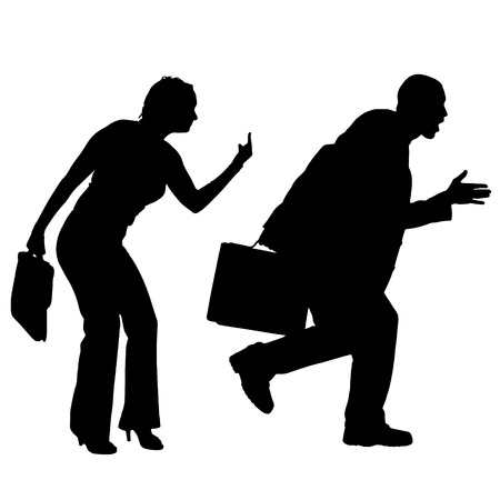 ire: Vector silhouettes of business people on a white background.