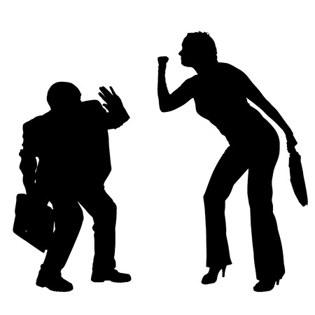 hassle: Vector silhouettes of business people on a white background.