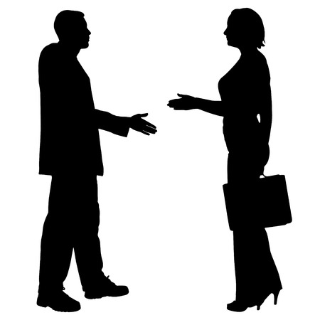 female silhouette: Vector silhouettes of business people on a white background.
