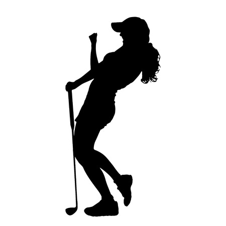 healthy woman white background: Vector silhouette of the woman who plays golf.