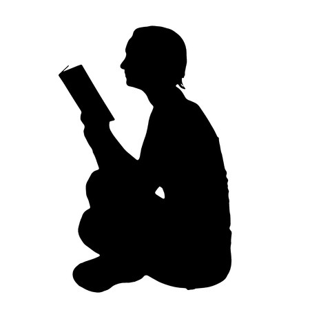 Vector silhouette of the woman who reads on a white background.