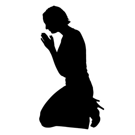 kneeling: Vector silhouette of a woman praying on a white background. Illustration