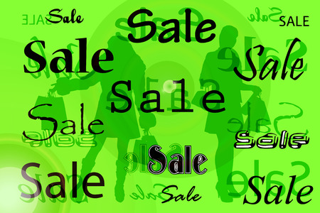 Vector background with the word sale with silhouettes of women. Vector