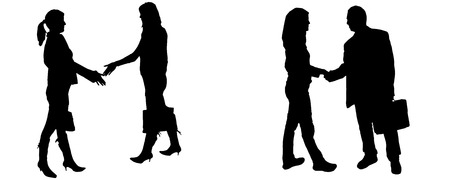 Vector silhouette of business people on white background. Illustration