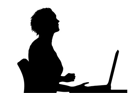 Vector silhouette of a woman who is sitting at the computer. Vector