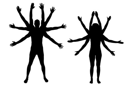 oriental medicine: Vector silhouettes of couple that have a lot of hands.