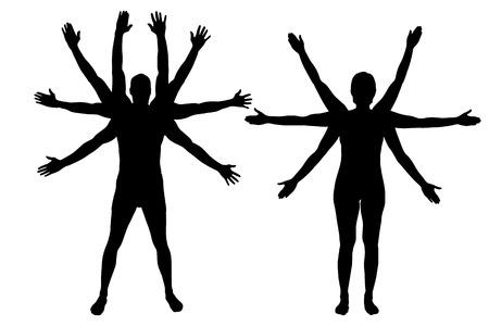 silueta masculina: Vector siluetas de pareja que tienen un mont�n de manos.