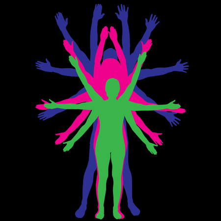 Vector silhouettes of people that have a lot of hands.