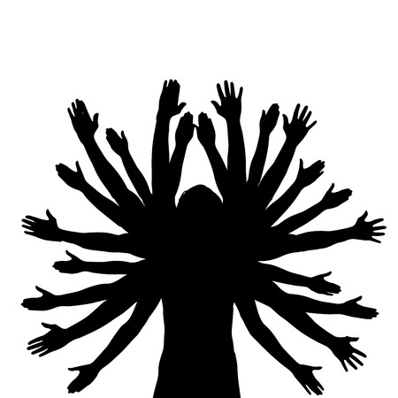 Vector silhouette of a man who has a lot of hands. Vektorové ilustrace