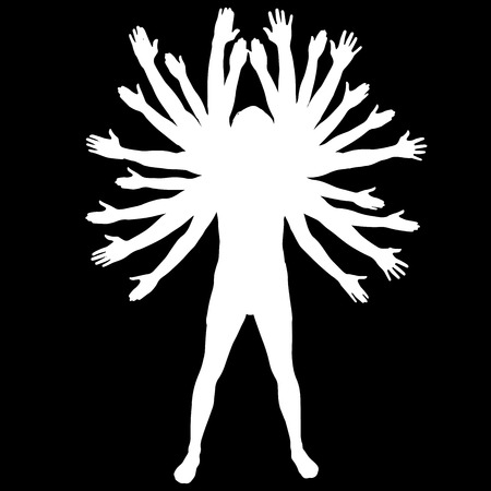 Vector silhouette of a man who has a lot of hands.