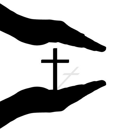 divinit�: Vector silhouette des mains pour prot�ger la croix.