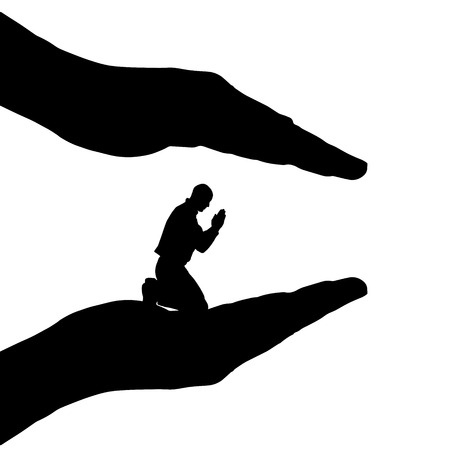divinity: Vector silhouette of a man who prays on a white background.