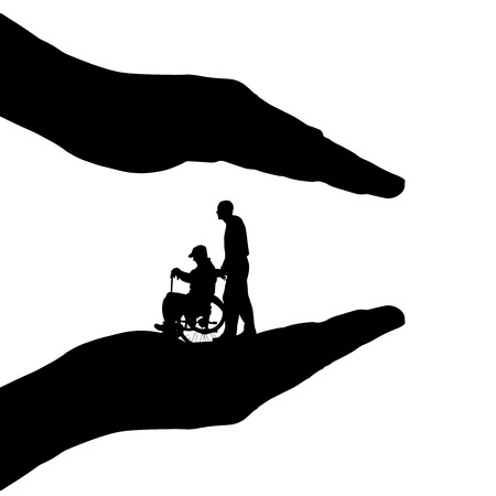 Vector silhouette of hands to protect the family. Vector