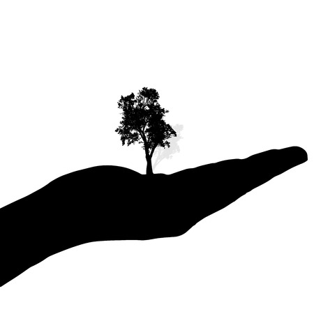 Vector silhouette of a hand with tree on a white background.