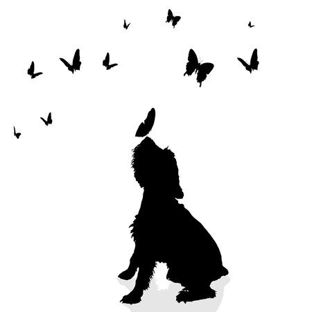 Vector silueta de un perro rodeado por las mariposas.