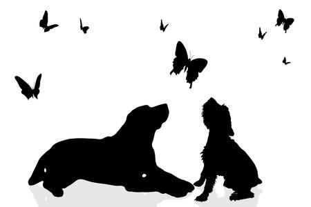 Vector silhouet van een hond omringd door vlinders. Stock Illustratie