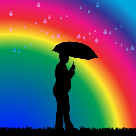 Vector silhouette of a woman in the rain on a rainbow background. Vector