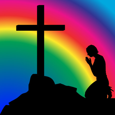 raibow: Vector silhouette of the woman who prays. Illustration