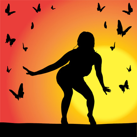 fly around: Vector silhouette of girl butterflies that fly around.