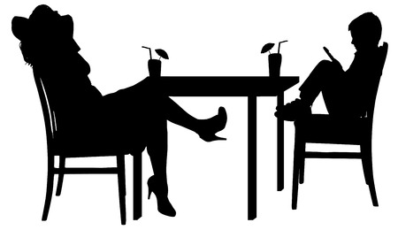 Vector silhouettes of family sitting at the table.
