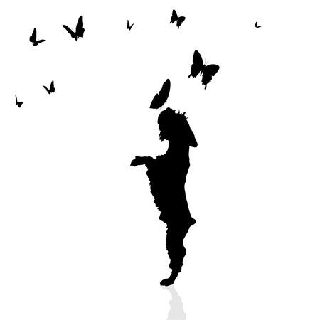 Vector silhouette di un cane circondato da farfalle. Archivio Fotografico - 33981390
