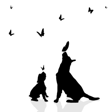 white dog: Vector silhouette of a dog surrounded by butterflies.