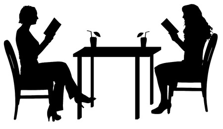 woman reading book: Vector silhouettes of women sitting at the table.