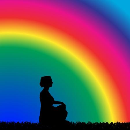 Vector silueta de una mujer que se entrena en el fondo del arco iris. Ilustración de vector