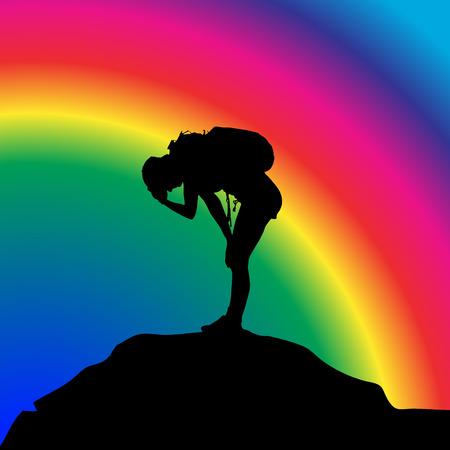 虹 bakground でバックパックを持つ女性のベクトル シルエット。