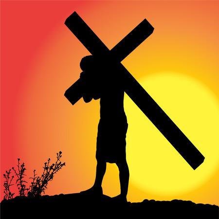 carries: Vector silhouette di Ges�, che porta la sua croce. Vettoriali