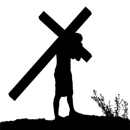 イエスは、自分の十字架を運ぶのベクトル シルエット。