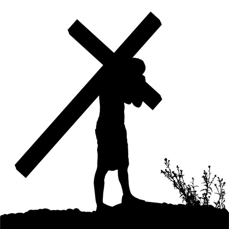 Vector silhouette of Jesus, who carries his cross. 일러스트