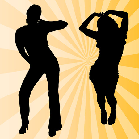 sexy young couple: Vector silhouette women dancing on a colored background.