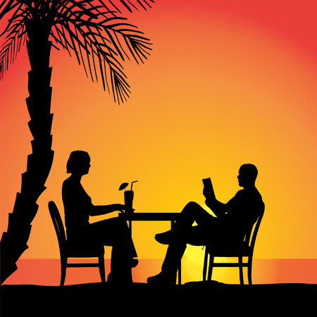palm reading: Vector silhouettes of couple sitting at the table.