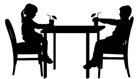 two friends talking: Vector silhouettes of children sitting at the table. Illustration