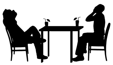 two friends talking: Vector silhouettes of men sitting at the table.