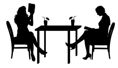 two friends talking: Vector silhouettes of women sitting at the table.