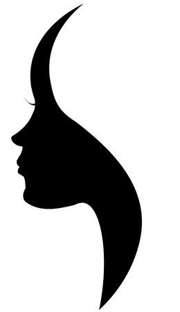 perfil de mujer rostro: Vector silueta de una mujer sobre un fondo blanco.