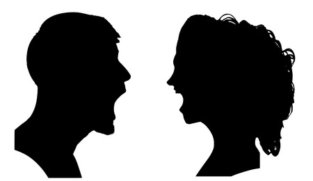 woman screaming: Vector silhouette of a couple on a white background.