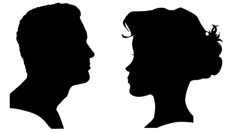 from side: Vector silhouette of a couple on a white background.