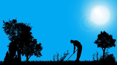 Vector silhouette of a gardener working in the garden. Vector