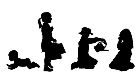 suckling: Vector silhouette of children on a white background.