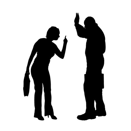 arguing: Vector silhouette of a couple who is arguing on a white background.