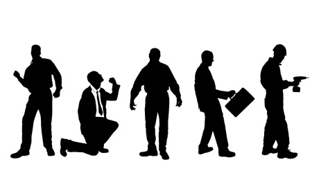 Vector silhouettes of different men on a white background. Vector