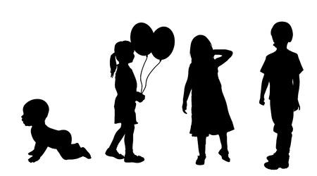nursling: Vector silhouette of children on a white background.