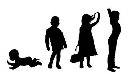 suckling: Vector silhouette di bambini su uno sfondo bianco. Vettoriali