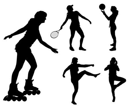 balon de voley: Vector siluetas de diferentes mujeres en diferentes deportes.