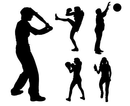 balon voleibol: Vector siluetas de diferentes mujeres en diferentes deportes.