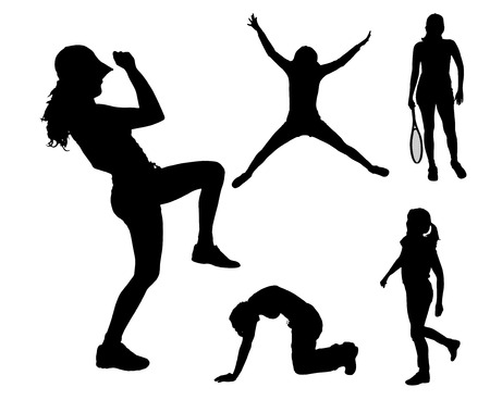 sport silhouette: Vector silhouettes of different women in different sports.
